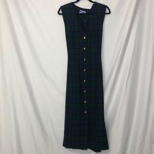 Pendleton Vintage Blue & Green Plaid Midi Dress